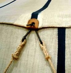 Hooks on the ropes, leather to reinforce the canvas. Detail of the extant 17th…