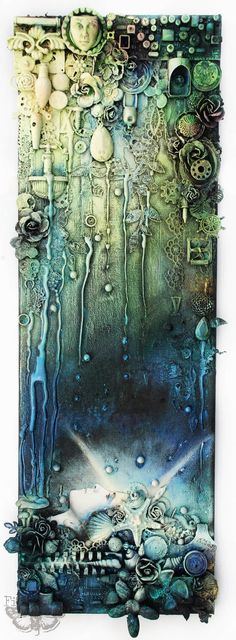 Ophelia - mixed-media collage (Finnabair) Here I am - Industrial Ophelia. Collage on canvas - cm I can.Here I am - Industrial Ophelia. Collage on canvas - cm I can. Mixed Media Artwork, Mixed Media Canvas, Mixed Media Collage, Mixed Media Painting, Altered Canvas, Altered Art, Altered Tins, Assemblage Art, Art Plastique