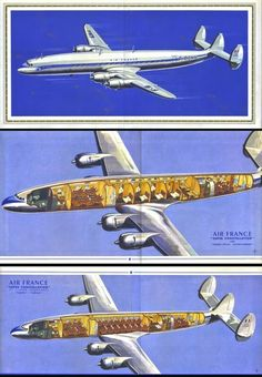 "Air France Brochure ""PARISIAN SPECIAL"" Super Constellation CUTAWAYS 1953"