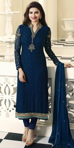 Teriffic Blue Georgette Straight Suit.