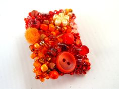 Summer Orange Red Brooch  Up-cycled and Recycled    Designed and Created by Pookledo