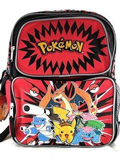 "Nintendo Pokemon Pikachu Plusle & Minun 16"" Canvas Black School Backpack-Red"