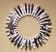 Music Wreath, Piano Keys Wreath, Musical Notes, Treble Clef, Clothespin Wreath…