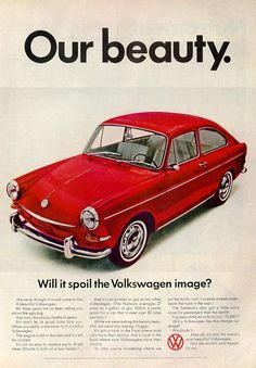 1967 VW Fastback Sedan Our Beauty-Red Volkswagen-Original * Magazine Ad Volkswagen Karmann Ghia, Volkswagen Type 3, Volkswagen Beetles, Porsche, Audi, Vw Variant, Mercedes Benz, Auto Union, Automobile