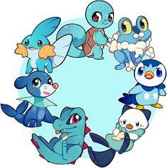 All of the water Pokemon starters! Pokemon Agua, Water Type Pokemon, Mega Pokemon, Pokemon Charmander, Mudkip, Pokemon Fan Art, Bulbasaur, Pokemon Games, Pokemon Stuff