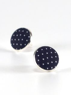 Blue Stud Earrings, Dark Blue Polka Dots Earring Studs, Navy Blue, Fabric Covered Buttons, Silver Toned Earrings, Posts, Oxford Jewelry