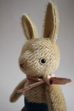 Play Rabbit pink/tan neckerchief by foxandowl on Etsy Little Bunny Foo Foo, Beautiful Rabbit, German Toys, Old Dolls, Little Doll, Vintage Easter, Soft Sculpture, Bunny Rabbit, Softies