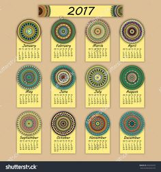 Calendar 2017. Vintage Decorative Colorful Elements. Ornamental Floral Oriental Pattern, Vector Illustration. Islam, Arabic, Indian, Turkish, Pakistan Chinese Ottoman Motifs - 493244335 : Shutterstock