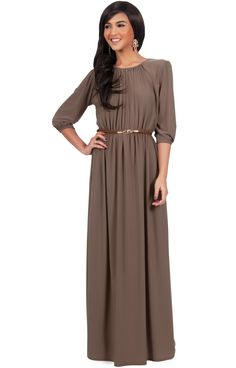 b707c56de20 Shop for KOH KOH Women Round Neck Sleeve Cocktail Long Maxi Dress with  Belt. Get free delivery at Overstock - Your Online Women s Clothing  Destination!