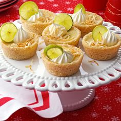 Mini Key Lime and Coconut Pies Recipe -Savor the flavor of Key Lime Pie with these individual muffin-size treats. They're great when you need to serve a large group.—Lisa Speer, Palm Beach, Florida