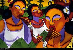 Cuba, Havana, Handcrafted Market, Painting Of Women Smoking Cigar ...