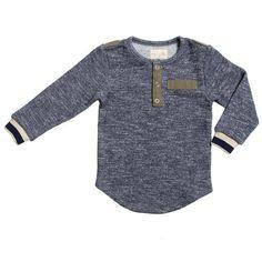 MAJOR MASH  Miki Miette Major Boys Henley Long Sleeve Shirt Top