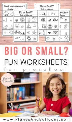 Big And Small Worksheets (Size Comparison) - Planes & Balloons