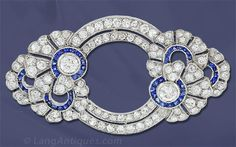 Art Deco Diamond and Sapphire Pin