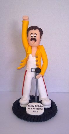 """Fimo """"LEGENDS"""" cake topper FREDDIE MERCURY    Hand crafted Freddie figurine, in one of the outfits he wore live at Wembley. I can make other """"Legends"""", Elvis, Dolly Parton, Michael Jackson etc....All priced the same.    £39.99"""