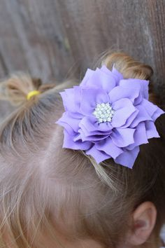 Purple Flower Clip for girls - La Bella Rose Boutique. baby girl hairstyles, baby hair accessories, baby hair bows, flower girl hair.