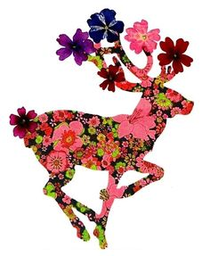 Extra 6th card when you buy the set of 5 / Greeting Cards with REAL FLOWERS / Deer Think Christmas cards