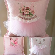 pretty little pink tutu pillows. Gotta DIY this! Cute Pillows, Diy Pillows, Decorative Pillows, Pillow Ideas, Fabric Crafts, Sewing Crafts, Sewing Projects, Diy Crafts, Pink Tutu
