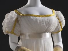Woman's Dress, France, circa Cotton gauze and cotton bobbin net with wool embroidery and silk satin trim, LACMA, Historical Costume, Historical Clothing, Regency Dress, Wool Embroidery, Green Velvet, Silk Satin, Night Gown, Dress Making, Evening Gowns