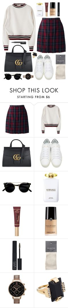 """Marmont diamond"" by sophiehackett ❤ liked on Polyvore featuring Lands' End, Gucci, Yves Saint Laurent, Versace, Too Faced Cosmetics, NARS Cosmetics, SELECTED, Olivia Burton and Marni"