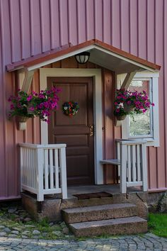 House entrance in Eksjö (Sweden) was picked up in Sweden, Eksjö and has f . Front Door Awning, Door Overhang, Porch Awning, Porch Canopy, Small Front Porches, Porch Steps, Building A Porch, Marquise, House With Porch