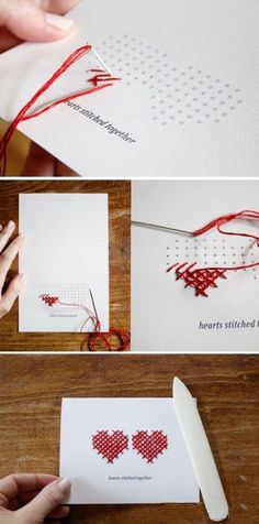DIY creative cards, play a few holes on the card, the red line used in cross stitch show into two love, love and creative work together to DIY it!