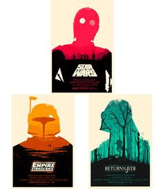 "Original Trilogy Set- Moss  By purchasing this item, you will receive posters for STAR WARS, EMPIRE STRIKES BACK and RETURN OF THE JEDI by Olly Moss.   Posters by Olly Moss. 24""x36"" screen print. Hand numbered. Printed by D&L; Screen Printing. Each has an edition of 400. $150"