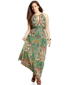 INC International Concepts Plus Size Dress, Sleeveless Printed Embellished Maxi