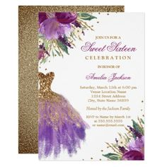 Purple Gold Glitter Amethyst Dress Sweet Sixteen Card - purple floral style gifts flower flowers diy customize unique