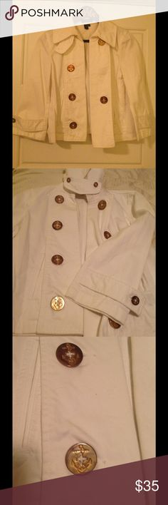Ralph Lauren White Jacket Nautical inspired white denim-like jacket with crop sleeves and gold anchor button detail. Slight discoloration on the gold buttons as shown in photo three. Otherwise, great condition! Lauren Ralph Lauren Jackets & Coats Jean Jackets