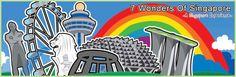 Postcard design #illustrations  #singapore #merlion #rainbow