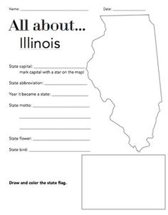 Illinois State Facts Worksheet Elementary Version