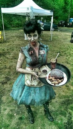 """Revisited the zombie waitress costume yesterday for FFBC's Halloween in August haunted house."