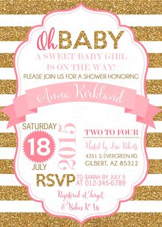 Hey i found this really awesome etsy listing at httpsetsy pink and gold baby shower invitation girl baby shower invite pink and gold glitter its a girl oh baby item 165 filmwisefo