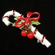 Enamel Candy Cane Pin Vintage Christmas Jingle Bells Brooch by ART