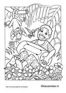 Kleurplaat Afrika, kleuteridee.nl , African coloring, free printable