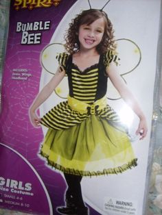 GIRL CHILD CUTE 3 PIECE BUMBLE BEE HALLOWEEN COSTUME SMALL 4-6 SPIRIT  #SEEPIC #CompleteOutfit