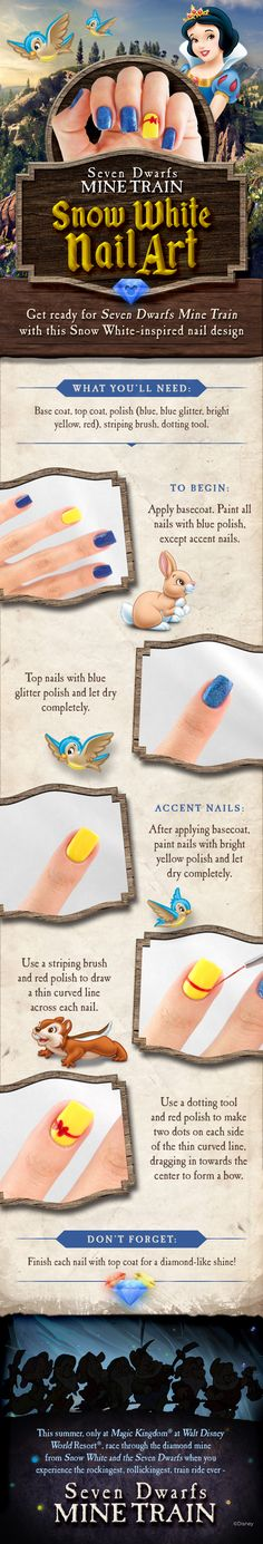 Get ready for Seven Dwarfs Mine Train at Magic Kingdom with this Snow White-inspired nail design! Get ready for Seven Dwarfs Mine Train at Magic Kingdom with this Snow White-inspired nail design! Snow White Nails, White Nail Art, Snow Nails, White Manicure, Simple Nail Designs, Nail Art Designs, Nails Design, Nail Art Blanc, Seven Dwarfs Mine Train