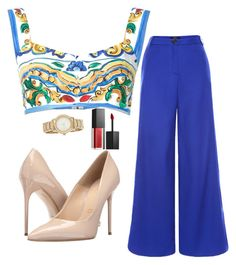 """""""So Blue!"""" by allieofficial on Polyvore featuring Judy Wu, Dolce&Gabbana, Massimo Matteo, DKNY and Smashbox"""