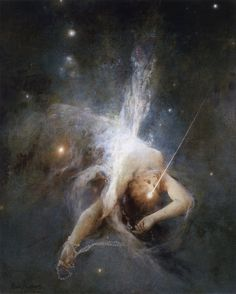 mirroir: Witold Pruszkowski Falling Star, Oil on canvas. (National Museum, Warsaw, Poland) mother night with her cloak of stars Art Ancien, Francisco Goya, Falling Stars, Mystique, Pre Raphaelite, Classical Art, Art Graphique, National Museum, Art Plastique