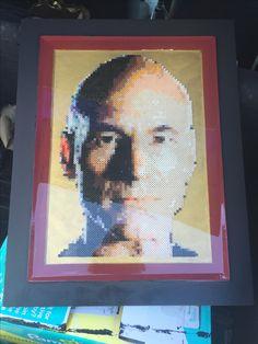 Captain Jean Luc Picard Star Trek perler bead portrait! Resin coated.