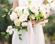 classic white and green bridal bouquet with dahlias and garden roses | Jacquelyn Hayward