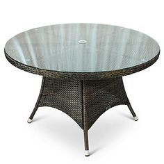 Round Rattan Outdoor Table with Glass Top - 1.2 Metre Diameter 120cm Circular Rattan Table