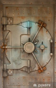 Old safe or vault door with rust stains Vinyl Wall Mural - Life Man Cave Table, Speakeasy Decor, Safe Door, Safe Vault, Vault Doors, Garage Apartment Plans, Gun Rooms, Bedroom Crafts, Gaming Room Setup