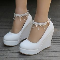 ed325cbc554d Women s Leatherette Wedge Heel Closed Toe Platform Pumps Wedges MaryJane  With Buckle Imitation Pearl Rhinestone Chain - Wedding Shoes - JJsHouse