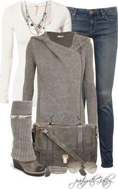 Sweater Boots Contest Sweater Boots Contest A fashion look from January 2013 featuring Helmut Lang, white top and cropped jeans. Mode Outfits, Casual Outfits, Fashion Outfits, Womens Fashion, Fashion Trends, Fall Winter Outfits, Autumn Winter Fashion, Winter Style, Winter Clothes