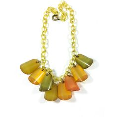 Art Deco Bakelite Dangle or Charm Necklace, Yellow Celluloid Chain,... (150 CAD) ❤ liked on Polyvore featuring jewelry, necklaces, dangle charms, green necklace, yellow necklace, vintage charm and plastic chain necklace