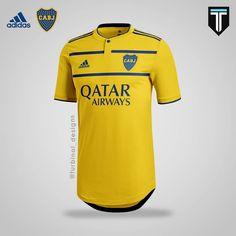 Boca Juniors x Adidas - Third Kit Concept . Soccer Kits, Football Soccer, Football Shirts, Football Design, Adidas, Concept, Mens Tops, T Shirt, Art