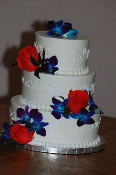 Masons Bakery -Wedding Cake 164-Wedding cake, 3 tier, round, red, blue, white, orchid, rose, flower, scroll, swirl