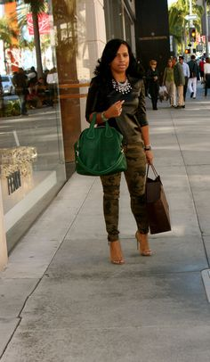 Wearing: Iris&Ink Leather Top, Zara Camouflage Pants, Givenchy Heels and Bag Major Must Haves Camo Fashion, I Love Fashion, Autumn Fashion, Fashion Looks, Fashion Outfits, Womens Fashion, Camo Outfits, Casual Outfits, Camo Pants